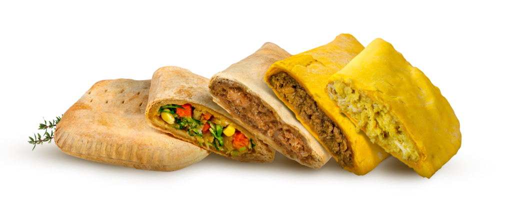 different Jamaican patties stacked